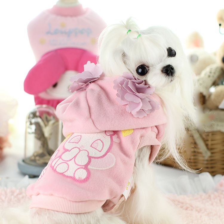 Cute flower small dog pet cat wool trench coat clothing for pet winter warm fleece dog puppy jacket hoodie chihuahua dog clothes