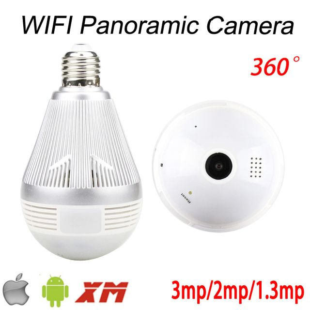 3mp/2mp 1080P/1.3mp 960P 128G Fisheye 3D VR Panoramic Bulb Wifi Wireless Night Vision IP CCTV Surveillance Camera Free Shipping
