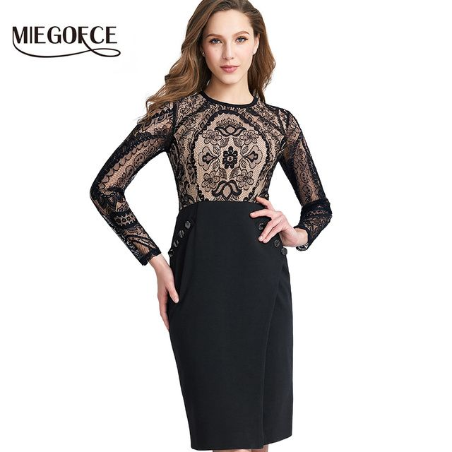 Women Fitted Dress Elegant Casual Office Dresses in European Style With Knitted Bodycon Lace Dress MIEGOFCE New Collection Hot