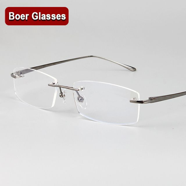 New Arrivals Business Eyewear 100% pure titanium male rimless Eyeglasses frame light weight recipe RXable 6379 size 55-17-140