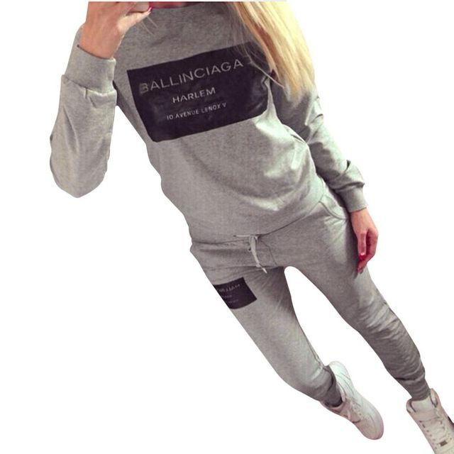 Fashion Letter Printed Sportswear 2 Pieces Set Women Autumn Winter Long Sleeve Tracksuits Casual Sporting Suit Costumes Mujer