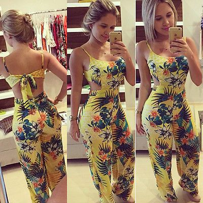 Women Jumpsuit 2016 Summer Sexy Playsuit Bodycon Party Floral Print Jumpsuit Romper Trousers Clubwear Bodysuit  free shippin