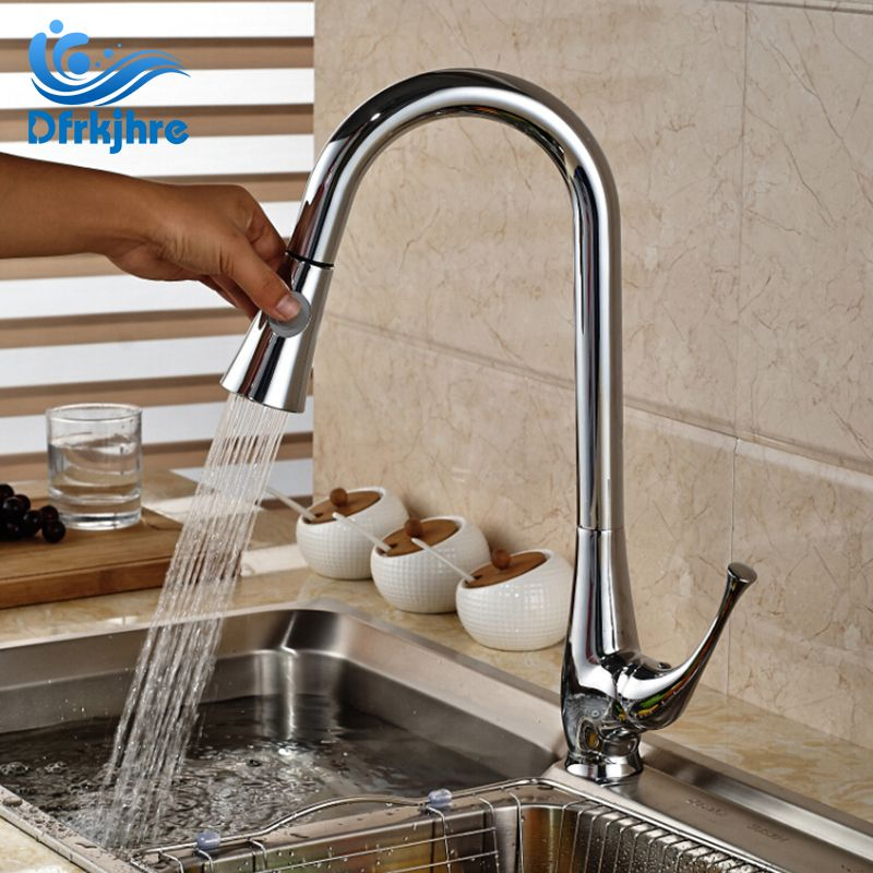 Modern Deck Mounted Chrome Spring Kitchen Faucet Pull Out Spout Mixer Single Handle2Ways Water