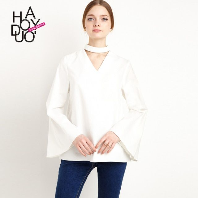 2016 New Spring Summer Women's Blouses Fashion Sexy Design Brief Hollow Out Shirts Flare Sleeve Loose Chiffon White Women's Tops