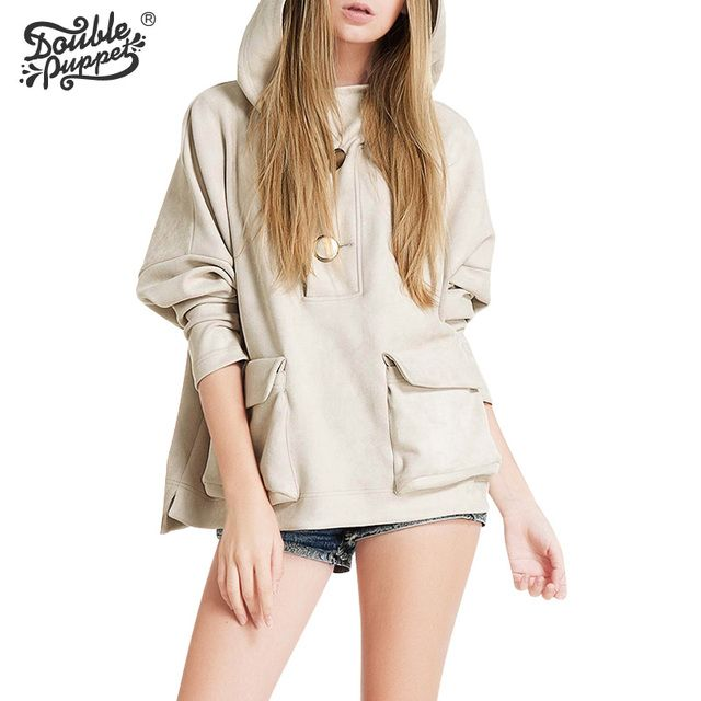 Double puppet 2017 New autumn Korean version loose casual solid hooded coat high quality full bat sleeve tops women 363009