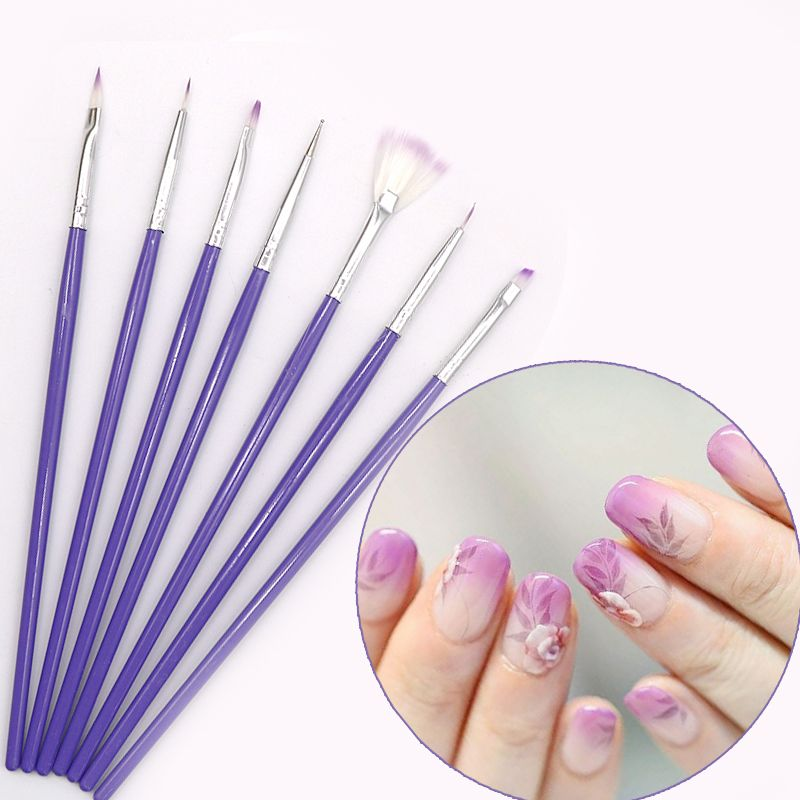 7Pcs/Set Pinceaux Nail Art Brush Pen Acrylic Nail Brushes Pinsel Nail Art Painting Tool Gel UV Polish Brush Manicure Design