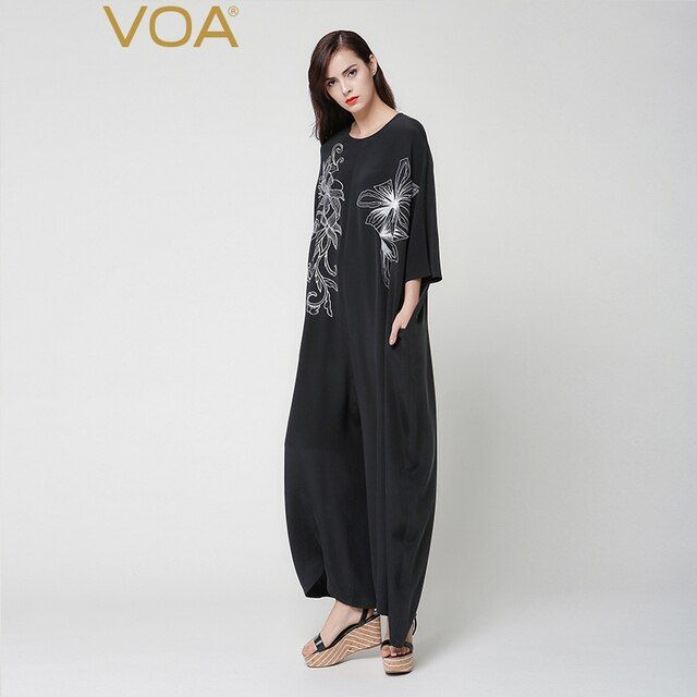 VOA H type heavy black silk embroidered loose Jumpsuit neck sleeve leg pants tide K7269