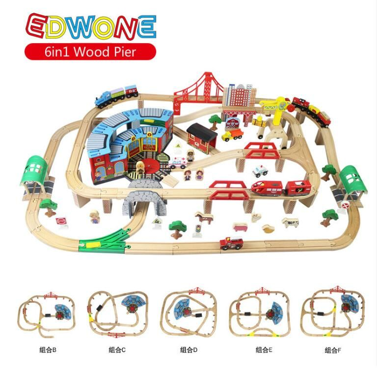 EDWONE 6IN1 168PCS Big Set Magnetic Electric Train Track Set Wooden Railway Track Slot DIY fit Thomas and Brio Gifts For Kids