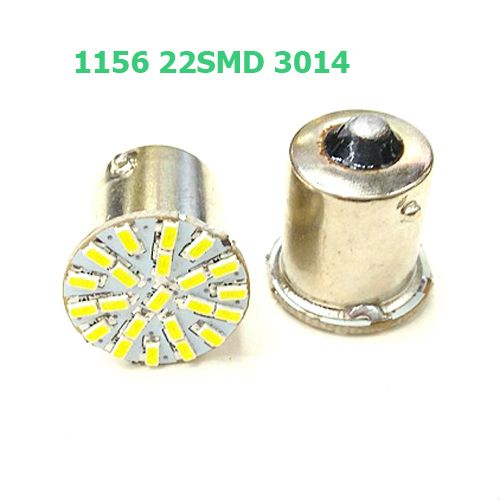 Super Bright BA15S P21W 1156 22 LED SMD Car Auto Tail Side Indicator Lights Parking Lamp Bulb White 3014 DC12V 1pcs