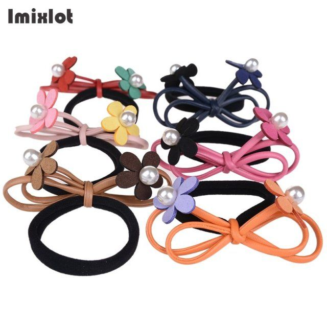 Imixlot 2017 Korean Velvet Leather Flower Bows Girls Scrunchy Ponytail Holders Gum For Hair Ties Women's Pearl Elastic Hair Band