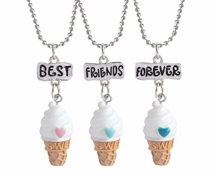3pcs Kids Jewelry Children Necklace Cute Ice Cream Best Friends BFF Necklace Bead Chain Pendant Charm Necklace Set Gift for Girl