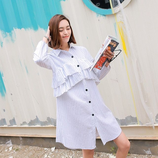 [TWOTWINSTYLE] 2016 Spring Clothing Women Korean Designer Layers Ruffles Long Sleeve Blue White Striped Shirt Dress Women New