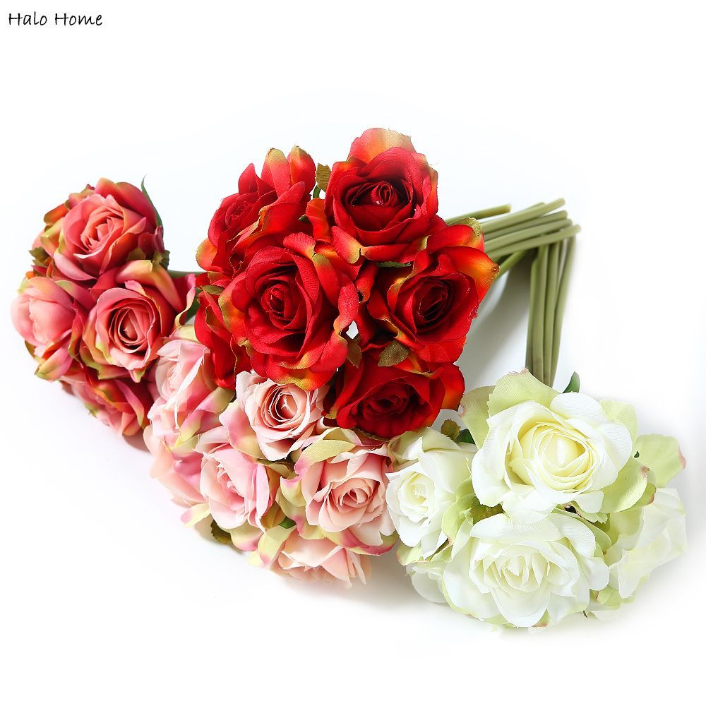 1 Bunch Artificial Flower Silk Rose Bouquet fit Decoration Party Home Garden Wedding Perception of reality Top Quality