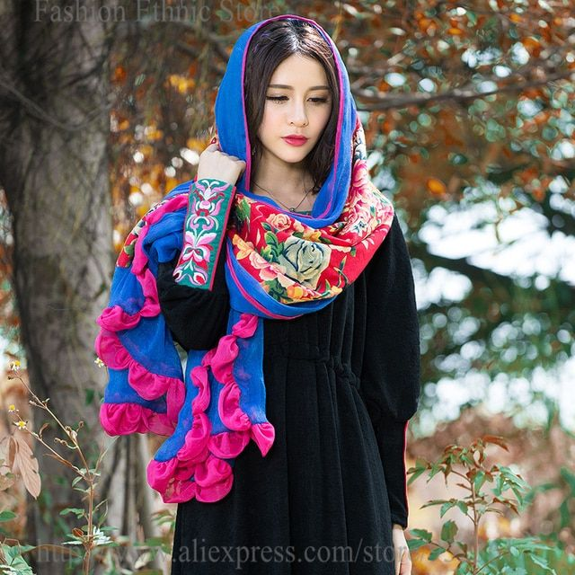 Women's Vintage boho Printed Long Scarf Cotton Linen Chiffon Spliced Wrap Shawl Scarves Stole Blue Red