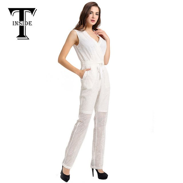 T-Inside 2016 Women Elegant Cotton Sleeveless Jumpsuit Bodysuit Overall with High Waist and Hollow Out Pattern Daily Wear White