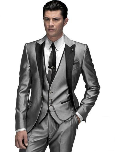 2016-Custom Made Groom Tuxedo silver Suit peaked Lapel Best man Groomsman Men Wedding/Prom Suits Bridegroom Jacket+Pant+vest+tie