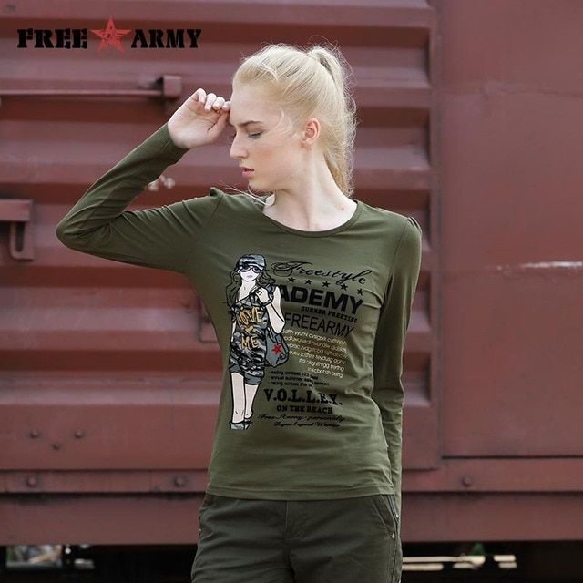 Brand Women Tops And Tees Long Sleeve Flocking Print T Shirts Women Camouflage Fashion Graphic Tees Army Green Feminino Gs-8366