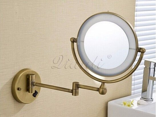 Hot Bathroom Bronze Wall Mounted 8 inch Brass 3X/1X Magnifying Mirror LED Light Folding Makeup Mirror Cosmetic Mirror Lady Gift