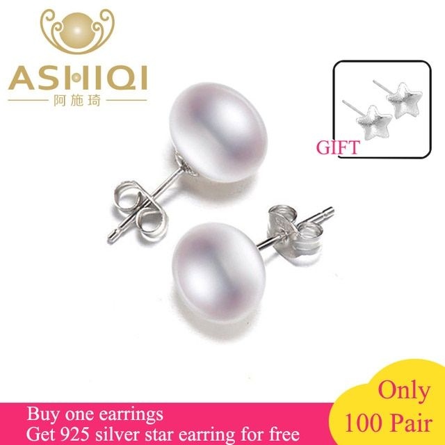 ASHIQI 100% Natural Freshwater Pearl Earrings, Real 925 Sterling Silver Stud earring  7-11mm Pearl jewelry supplier For women