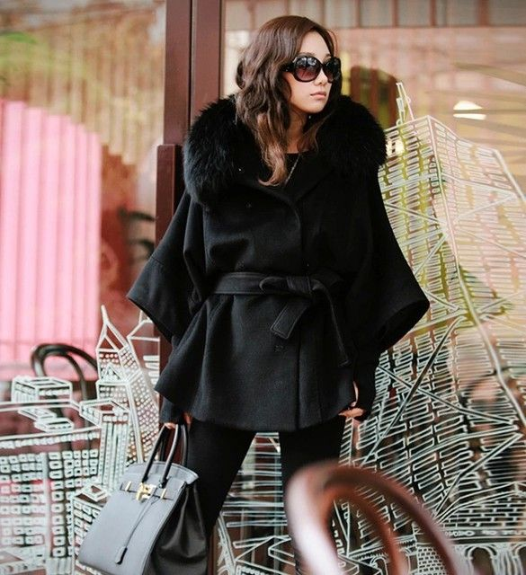 Korean Fashion Bat Sleeve Women Woolen Coat Real Fox Fur Collar hooded Cape Coat With Belt