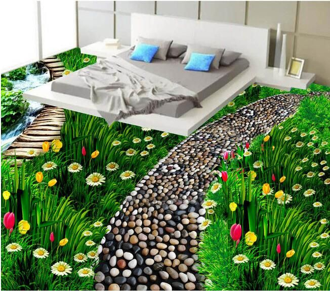 3 d flooring custom waterproof 3d pvc flooring Floral natural grass flooring 3d bathroom flooring photo wallpaper for walls 3d