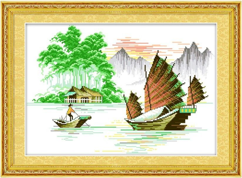 Embroidery Package    Cross Stitch  Best Quality---Luxurious Fisher Water Tree Cabin Mountain Sailing Boat Top grade  New