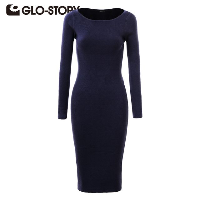 GLO-STORY Brand Women Winter Dress 2017 Fashion Sexy Sheath Autumn Midi Sweater Dresses Long Sleeve Bodycon Dress Casual Clothes