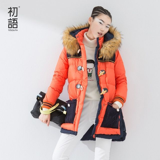 Toyouth 2016 Women's New Arrival Winter Medium-long Fur Female Down Coat Color Block Casual Outerwear