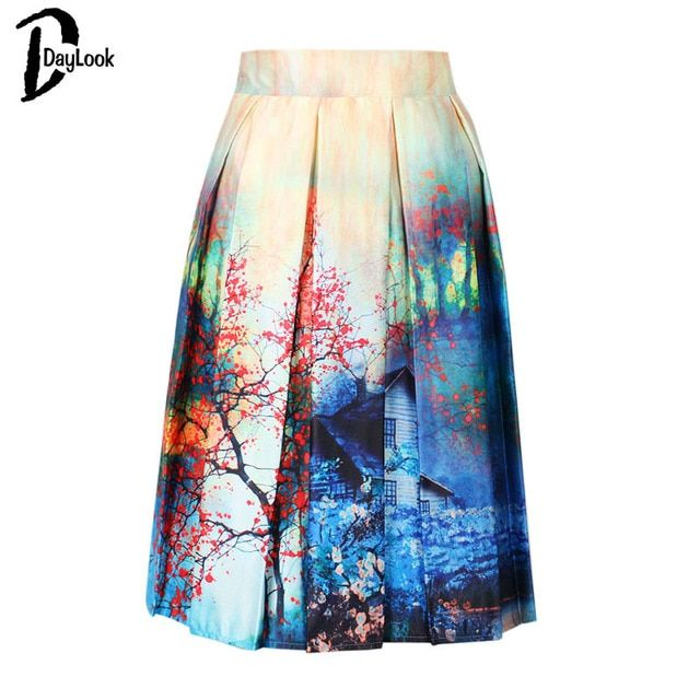 DayLook Summer Skater Skirt Vintage Charm Lady Multi Scene Print Pleated Midi Office Skirt Tutu Elegant Womens Skirts Saia