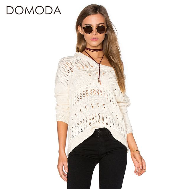 DOMODA Solid White Hoodies Sweatshirt Women Hollow Out Long Sleeve Pullovers Sweatshirt Basic Loose Tops Female