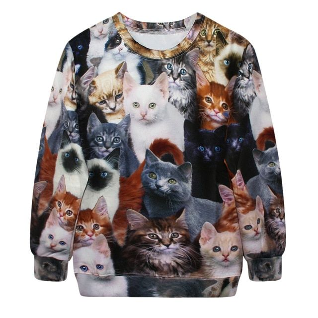 Europe and America hedging loose casual cat Sweatshirt Female Star Digital Printing 3D women Sweatshirt