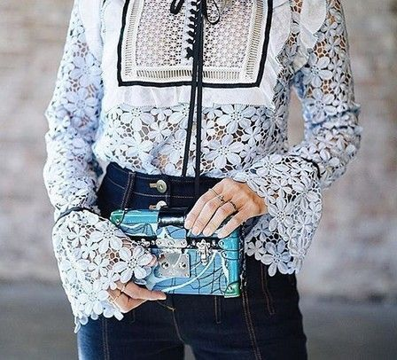 2017 new arrive blue flower Blouses & Shirts