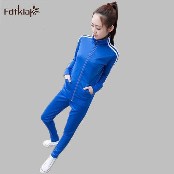 2017 Fashion Women Sportswear Suit Fall/Winter 2 Piece Set Tracksuits Long-sleeve Casual Plus Size Costumes M-4XL Q256