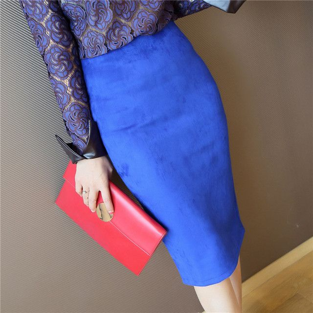 2017 Women's  Autumn Leather Suede Pencil Skirt Fashion Slim Elastic Hip Step Midi Winter Women Skirts Female