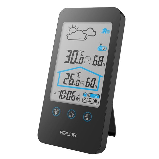 Touch Screen Wireless Thermometer Hygrometer Indoor Outdoor Weather Station Weather Forecast+ Moon Phase and Calendar Function