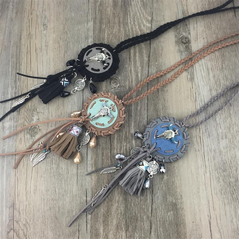 Boho vintage silver metal bull large round charms long necklaces&pendants coin leather  tassel ethnic tribal female jewelry