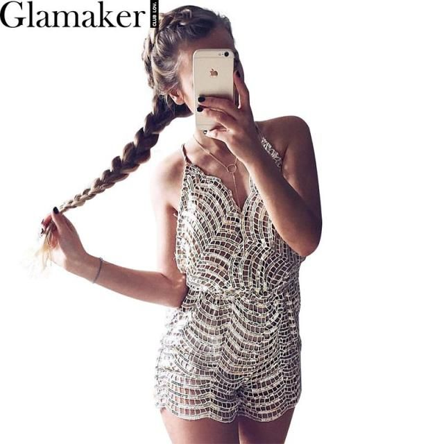 Glamaker Elegant sequin women jumpsuit romper Adjustable strap sexy v neck evening party overalls 2016 fashion clubwear playsuit