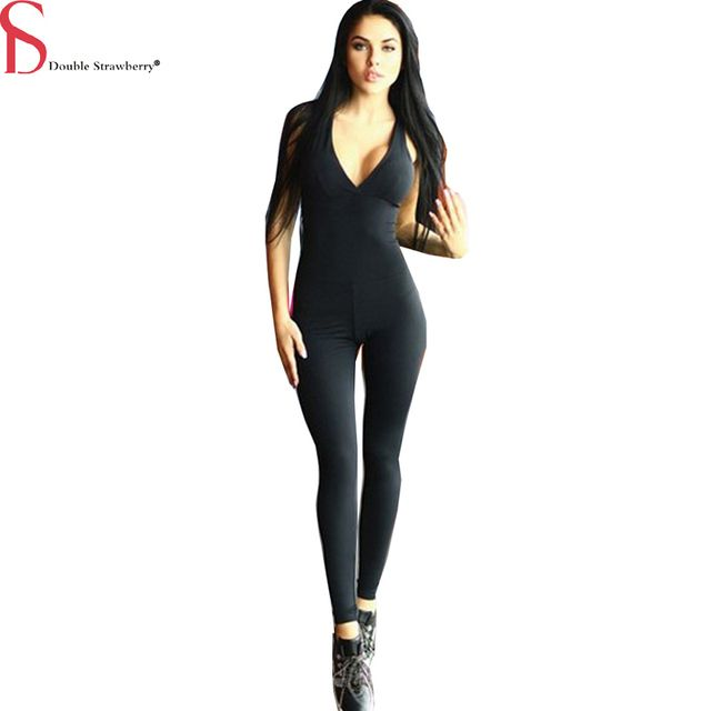 2016 New Summer Sexy Women's Deep V-neck Cross Back Hollow Sexy Exercise Bodysuit Jumpsuit Ladies Casual Rompers