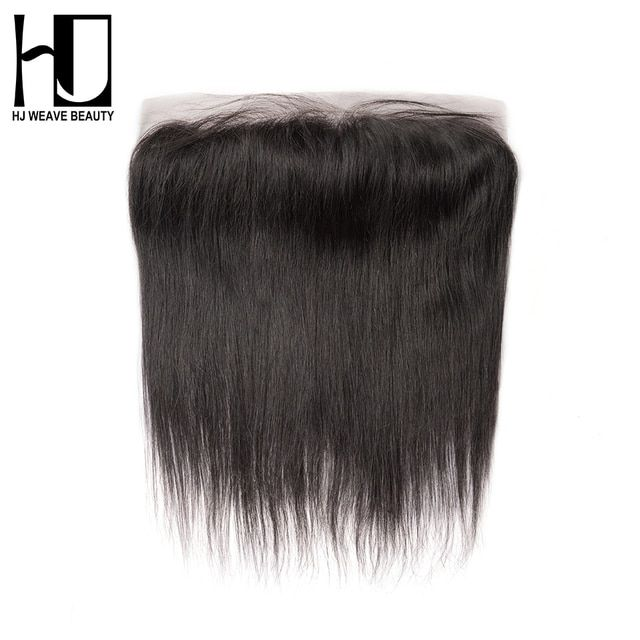 HJ WEAVE BEAUTY  Brazilian Lace Frontal Closure Straight Remy Hair 13*4 Plucked Natural Hairline 100% Human Hair