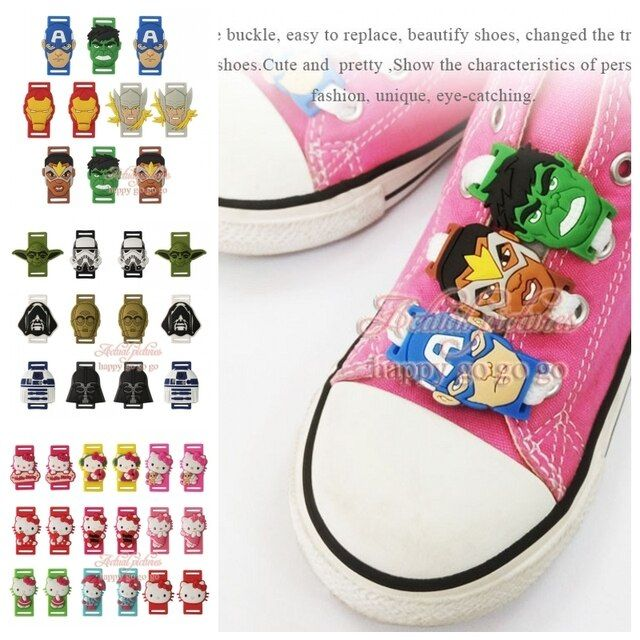 Kids gift 6pcs/lot Shoe Buckles Accessories Shoe Lace Abrasion Hello Kitty Star War The Avengers shoelace shoe decoration