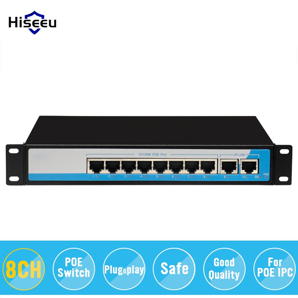 8-Port 10/100M PoE Net Switch/Power Over Ethernet PoE&Optical Transmission For IP Camera System Network Switches for POE Camera