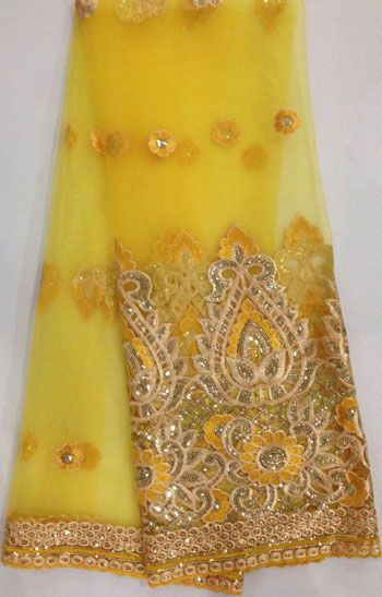 FREE SHIPPING! African French Lace with sequins,Big French lace,African Lace fabric,embroidery lace,5y/ LOT  DH999 YELLOW