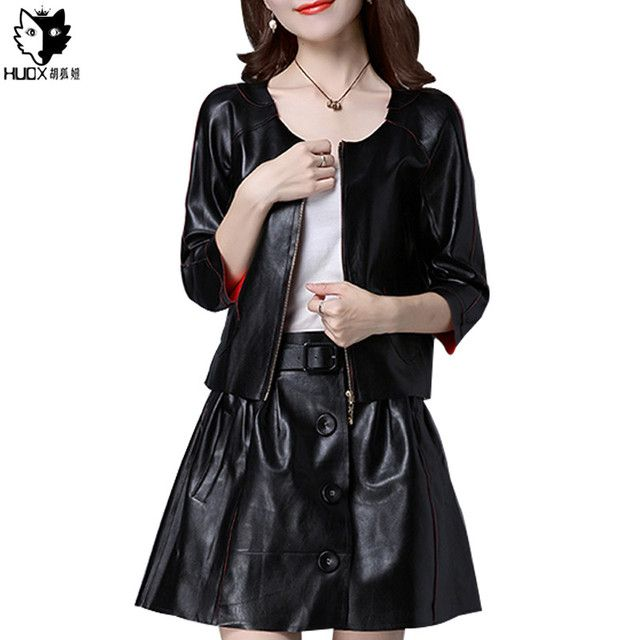 HUOX Classic 2 Pieces PU Leather Women Sets Elegant O-Neck Zipper Casual Jackets Vintage Single Breasted A-Line Female Skirt