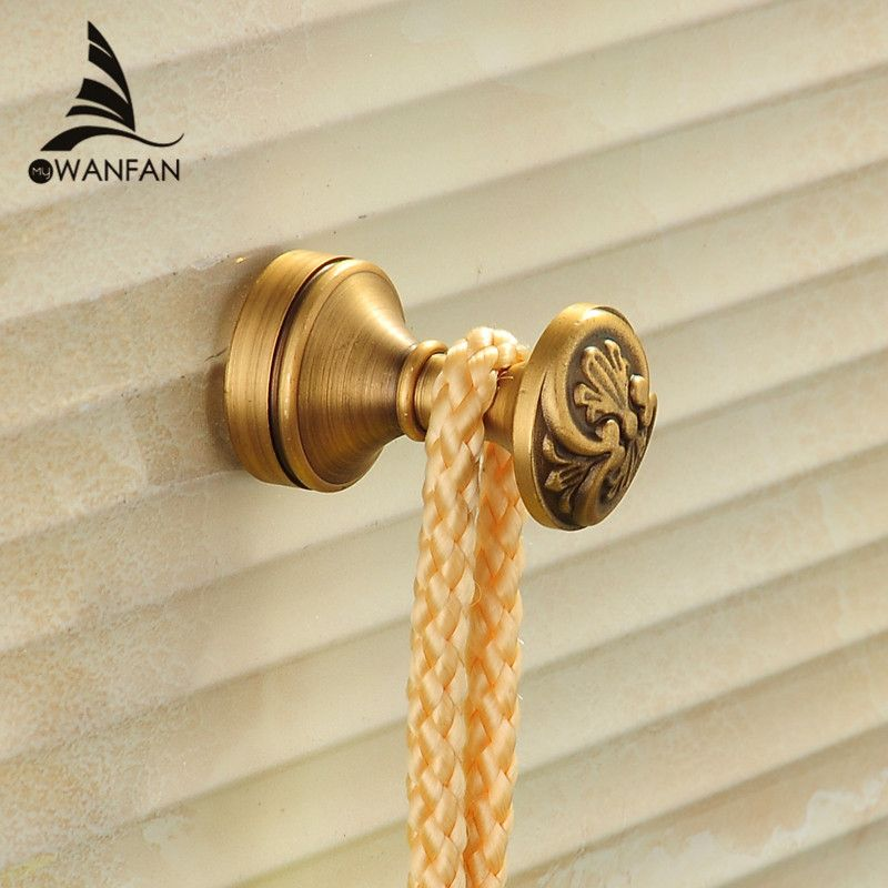 Robe Hooks Antique Brass Wall Hook Single Clothes Hanger Towel Hooks Bathroom Accessories Decorative Coat Door Hooks MD-979