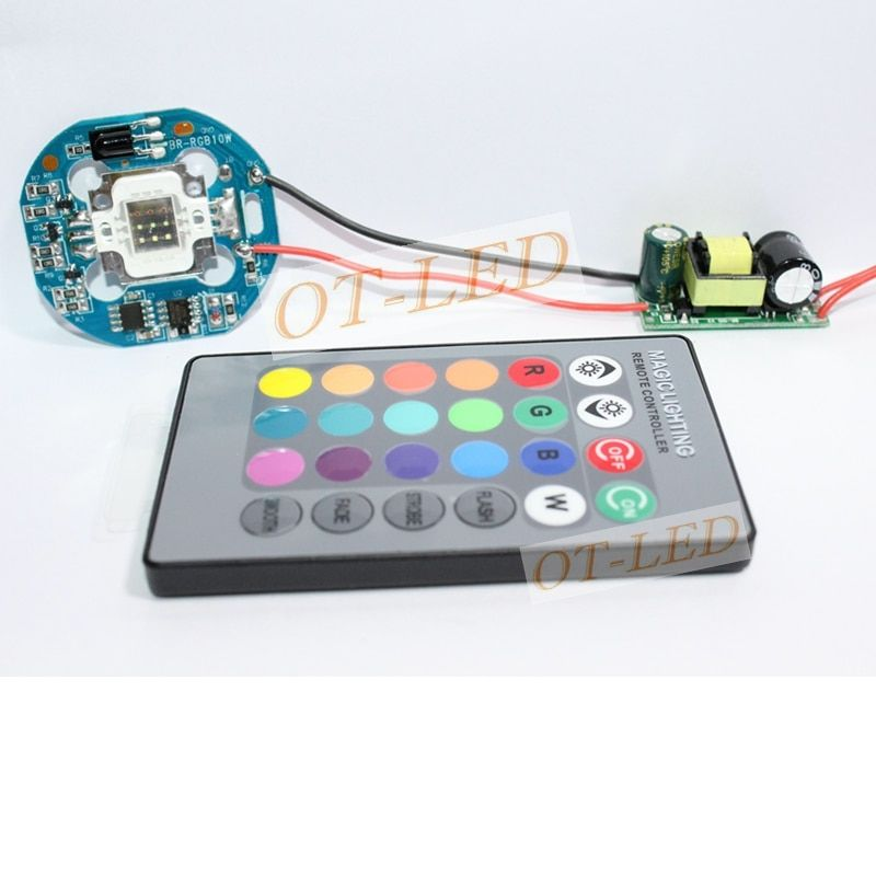 4-in-1 10W RGB SMD LED light Lamp + Dimmable IR Controller Board + 24 key Remote + AC 110V~220V or DC 12V LED Driver