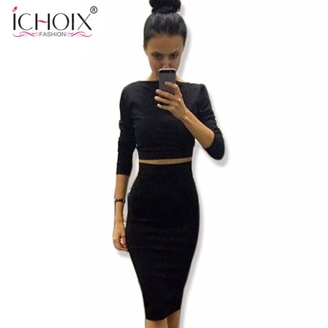 Black Summer Sexy Outfits 2 Piece Set Women Two Piece Outfits For Women Bandage Bodycon Dress Party Dresses Vestidos Femininos