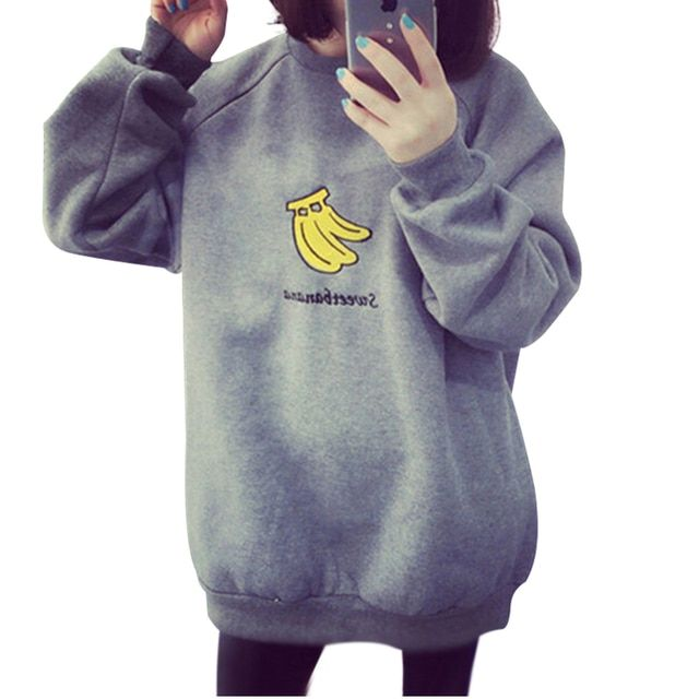 EGNMC Autumn Winter Women's Loose Casual Sweater Pullover Cartoon Fruit Print Full Sleeve Gray Lovely Couple Fleece Keep Warm