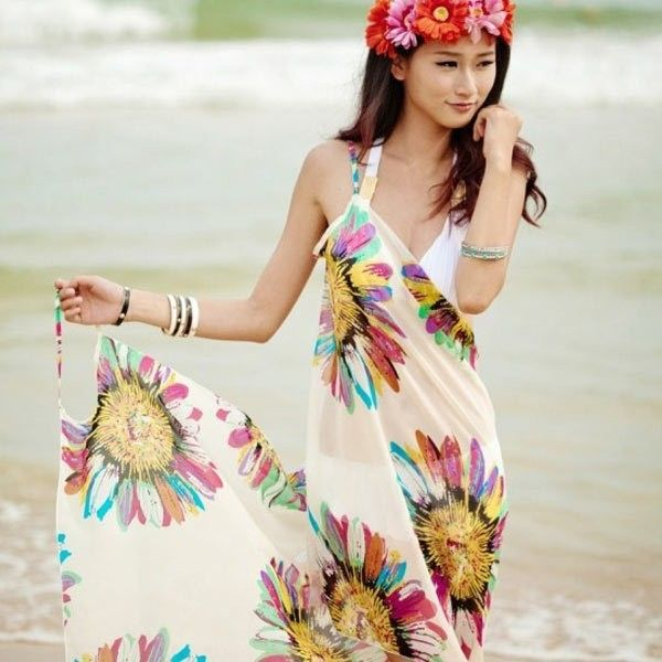 Fashion Chiffon Pareo Women Wrap Flower Print  Summer Beach Dress  Cover-ups Swimwear Free Shipping 20pcs/lot