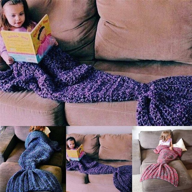 Bedding Outlet Handmade Yarn Knitted Mermaid Tail Wool Blankets for Bed Adult Kids Throw Wrap Super Soft Crochet Warm Blanket