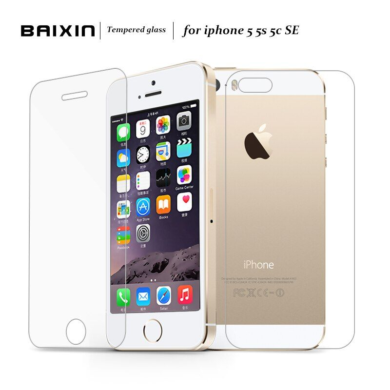 Baixin 0.3mm Premium 2 pcs/lot Front + Back for iPhone SE 5s 5c 5 Anti-scratch Tempered Glass Screen Protector protective Film